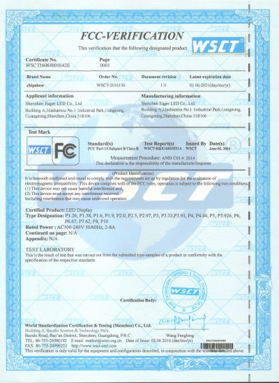 LED display FCC certification